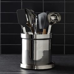 Williams Sonoma Stainless Steel Partitioned Utensil Holder