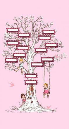 Michael Miller Children at Play Family Tree Panel Pink Fabric Pedigree Chart, Family Tree Chart, Family Trees, Childrens Wall Art, Michael Miller Fabric, Yellow Art, Family Genealogy, Nursery Room Decor, Pink Fabric