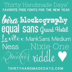Current favorite free fonts for the new year via @30daysblog.