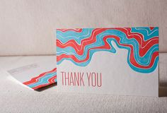 Wave letterpress folded cards
