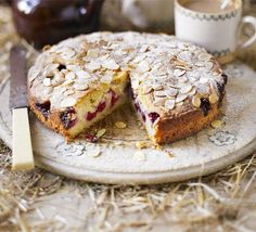 This simple almondy cake is a great way of using up pick-your-own raspberries