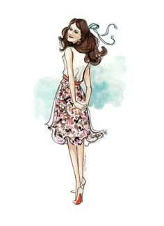 Pretty floral skirt illustration!