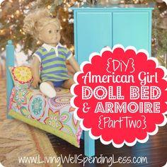 DiY American Girl Doll Bed & Armoire (Part 2)  #DiY #AmericanGirl #Furniture
