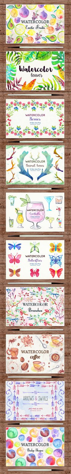 650+ Delightful Watercolor Clip-Art Elements - only $24! - MightyDeals