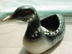 Vintage Loon Duck Cabin Vacation Home Man Cave Minnesota Bird 8 inch Planter Pot