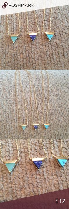 "Delicate Natural Stone Triangle Necklaces 16"" perfect alone or for layering.    Great quality  very chic.   Brand new Must Have Jewelry Necklaces"