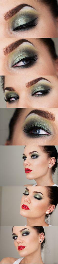 Inspiração make verde com lábios vermelhos! (by Linda Hallberg)
