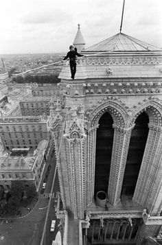 Philippe Petit on the wire (Notre-Dame Cathedral in Paris, 1971)