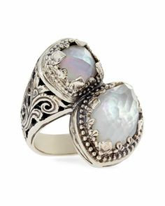 Aura Silver & Mother-of-Pearl Bypass Ring by Konstantino at Neiman Marcus.