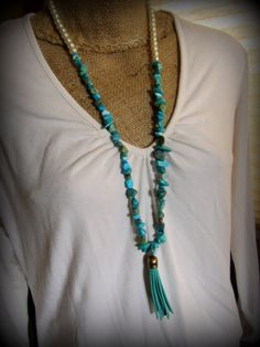 Turquoise Nugget Beads and Pearl Necklace by AllowingArtDesigns
