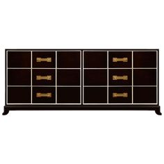 An ebonized mahogany 6 drawer dresser with highlighted recessed detail and brass pulls by Tommi Parzinger, American C. 1940's