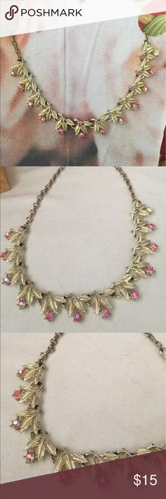 """Vintage rhinestone necklace. J. Crew """" STYLE """" REDUCED x3 🌺 Pink and gold tone vintage adjustable necklace good vintage condition with one stone missing near end - easy to replace or hidden by hair. Priced accordingly! This is listed as J. Crew for exposure and it is a classic piece like J. Crew🌺 J. Crew Jewelry Necklaces"""