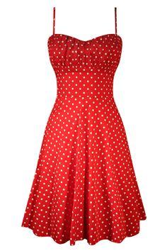 Polka Dot Swing Dress - Red
