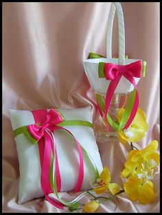 Fuchsia Pink Green Weddings Basket Pillow  Flower by All4Brides, $55.00