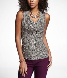 PRINTED RUCHED DRAPE NECK SHELL TOP at Express