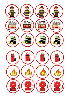 24 Mixed Fireman fire Engine Cartoon Mix Themed Cupcakes Edible Cake Toppers On Wafer Rice Paper Fireman Cupcakes, Fire Truck Cupcakes, Themed Cupcakes, Fireman Party, Firefighter Birthday, Fireman Sam, Fire Cake, Cartoon Cupcakes, Edible Cake Toppers