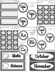Classroom Labels  Book bins, tables, name plates, leveled reading library…