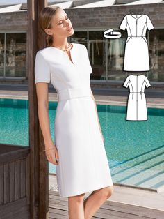 Sewing patterns - Petal-white wool twill gives extra weight to the sharp cut of this narrow power dress. The wide bel - Diy Dress, Dress Outfits, Casual Dresses, Short Dresses, Dresses For Work, Fall Outfits, How To Make Clothes, Diy Clothes, Fashion Sewing