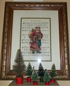 Santa on sheet music ~ we don't do Santa here, but would be a great idea with some other picture.