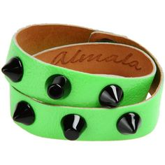 Almala Bracelet ($41) ❤ liked on Polyvore featuring jewelry, bracelets, green, snap jewelry, leather bangles, green jewelry, snap button jewelry and leather jewelry