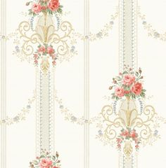 Bouquet Stripe from The English Rose Collection by Pelican Prints Room Wallpaper, Fabric Wallpaper, Flower Wallpaper, Pattern Wallpaper, Fabric Patterns, Embroidery Patterns, English Roses, Pretty Wallpapers, Flower Frame