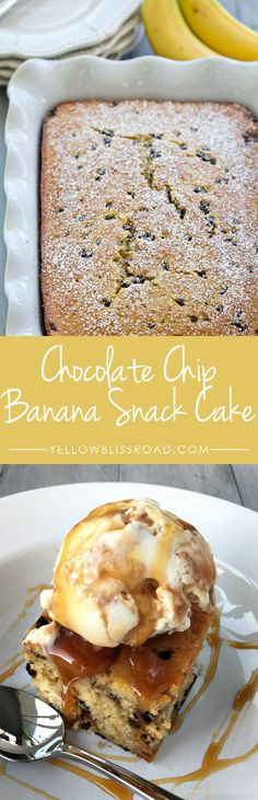 Delicious and Moist Chocolate Chip Banana Snack Cake