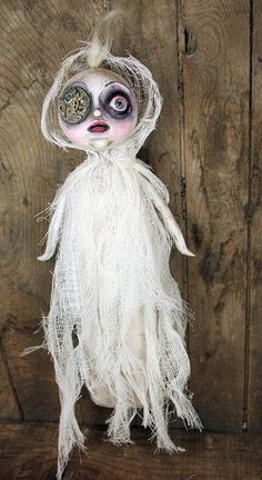 Ghost Girl Paper Mache Art Doll