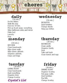 Daily chore list - print on paper with pretty border that matches ...