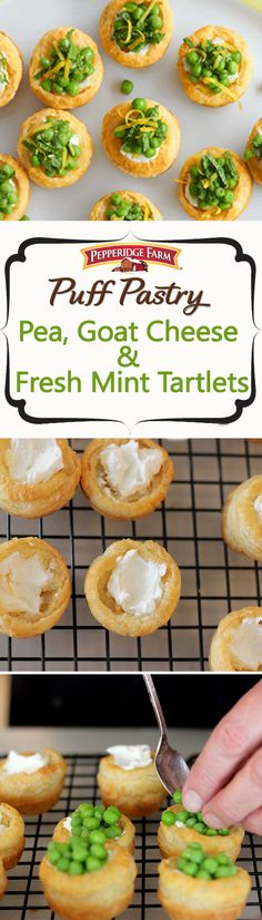 Puff Pastry Pea, Goat Cheese & Fresh Mint Tartlets Recipe. These irresistible tartlets feature little rounds of baked Puff Pastry filled with a mixture of seasoned goat cheese and buttery petite peas. With a sprinkle of fresh mint leaves and lemon zest, you've got a beautifully fresh and tasty spring appetizer!