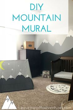 Boy's Outdoor Adventure Nursery, Part 2: DIY Mountain Mural. Would you like to paint a mountain mural in your home? Take a look here for step-by-step instructions... #diy #diyproject #mountainmural #mountainscene #wallpaint #behrpaint #Paintcolors #boysroom #boysnursery #outdooradventureroom #adventuredecor #mountains #roomdecor #homeadventures