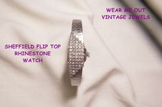September sale many items reduced from 20 to 60% off Visit my Ruby Plaza Shop Link on home page     Sheffield Pat Pend Flip Top Deco style Rhinestone Watch Bracelet from vintageshari on Ruby Lane
