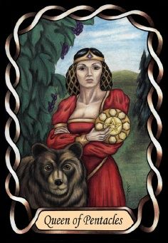 Queen of Pentacles from the gorgeous Steele Wizard Tarot deck by Pamela Steele.  Published in 2007.