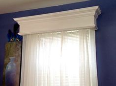 10 Budget Updates and Easy Cosmetic Fixes: A wooden cornice box is an easy project for beginner woodworkers. You can cover it with fabric, paint it or add crown molding. Cornices make windows look…More Valance Window Treatments, Kitchen Window Treatments, Window Valance Box, Wood Valances For Windows, Window Swags, Wall Treatments, Window Coverings, Window Curtains, Home Improvement Projects