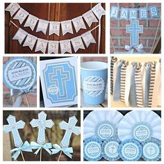 Boy / Baptism / First Communion / Religious Party Decorations.  9-piece.  Blue / Silver / White / Boy-ish Stripe.  Fully Assembled.  Custom. by CharmingTouchParties on Etsy