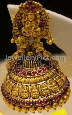 Antique gold lakshmi devi buttalu - Latest Jewellery Designs