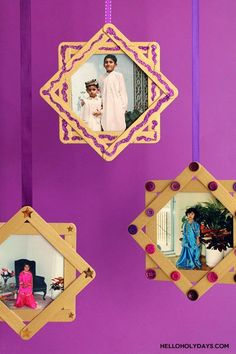 Ramadan & Eid Al-Fitr kids' craft: 8 pointed star photo frames for displaying Eid outfit photos - Hello Holy Days!