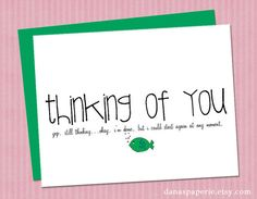 Thinking of you card with cute fish...I love this!