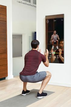 Mirror is the nearly invisible interactive home gym. When off, it's an elegantly designed full-length Mirror. Home Gym Mirrors, Work Today, At Home Gym, Ui Ux Design, Interactive Design, View Photos, Squats, Product Design, Interior