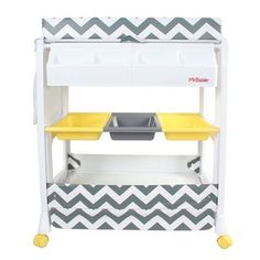This My Babiie MBCHZZ Chevron baby bath and changing unit is an absolute must for parents and their little ones. This useful accessory doubles up as a baby bath and changing unit with handy storage compartments underneath Changing Unit, Baby Changing Table, My Babiie, Built In Bath, Baby Baden, 2 Door Wardrobe, Large Tray, Boy Decor, Grey Chevron