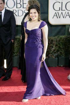 America Ferrera in Brian Reyes Billy Reid, Lady And Gentlemen, Golden Globes, Purple Dress, Creative Director, Gentleman, Red Carpet, Eye Candy, Fashion Beauty