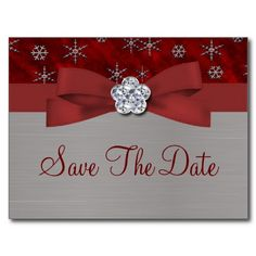 Red Velour & Silver Snowflakes Save The Date 2 Post Cards