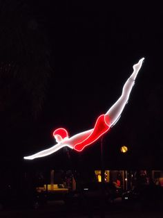 Route 66 lights (Neon Diver) in the city of West Hollywood 2010