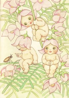 The Gumnut Babies as drawn by May Gibbs, author and illustrator Smile Drawing, Baby Fairy, Flower Fairies, Fairy Art, Australian Artists, Children's Book Illustration, Vintage Children, Vintage Art, Illustrators