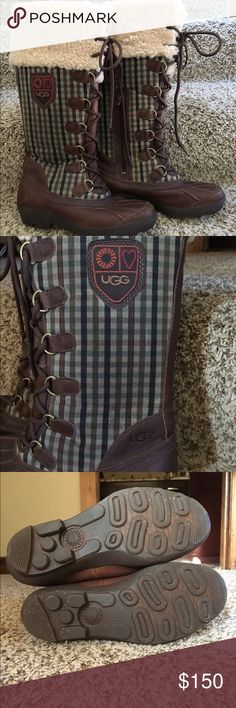 Ugg Edmonton waterproof boots Sheepskin lining, very warm. Note in pic left shoestring is frayed, otherwise great condition. UGG Shoes Winter & Rain Boots
