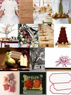 Mood: rustic elegance Palette: apple colors (red, green, gold, brown), white