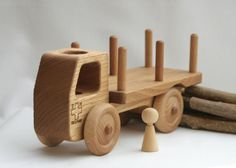 Wooden Toy Truck Wooden Car Waldorf toy Solid by BERTYandMASHA