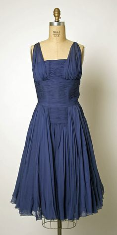 Evening dress Jean Dessès  (French, born Eqypt, 1904–1970)  Date: 1952 Culture: French Medium: silk, synthetic. Front dress