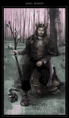 King of Wands! darknesstarot.com #kingofwands #darknesstarot #tonydimauroart #tarot