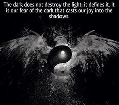 The dark does not destroy the light; it defines it. It is our fear of the dark that casts our joy into the shadows. | Anonymous ART of Revol...