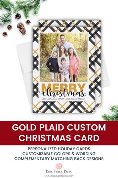 Share holiday greetings with gold plaid holiday photo cards. Need to add more pictures or share a detailed message? Add a complementary custom back upgrade. We design, personalize, and professionally print your holiday cards for you. Shop Holiday Cards today.